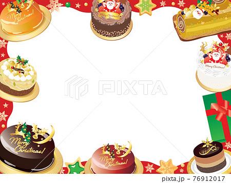 クリスマスケーキのフレームのイラスト 76912017