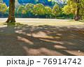 昼の太陽の光で伸びる公園の木の陰 76914742