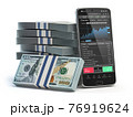 Stock market trading concept. Mobile phone and packs of dollar isolated on white. 76919624