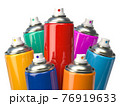 Colorful graffity spray paint cans or bottles of aerosol isolated on white. 76919633