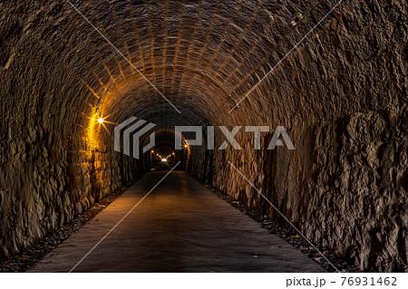(静岡県)伊豆の旧天城トンネル北口園地(湯ヶ島側)から見る内部 76931462