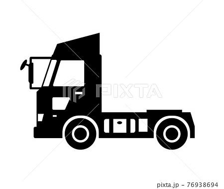 トラック トレーラーヘッド 白黒シルエット 76938694