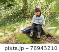 Little explorer on hike in forest. Boy with binoculars sits on stump and reads map. Outdoor leisure activity for children. Summer journey for young tourist. 76943210