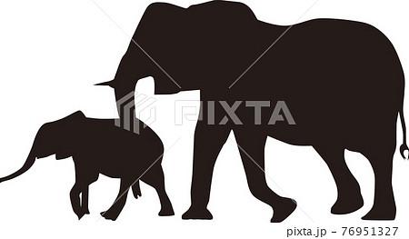 ゾウの親子 イラスト 76951327