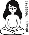 Woman sitting in meditation 76955762