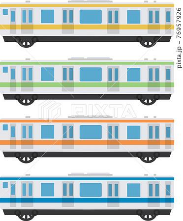 電車、鉄道、地下鉄のイラスト素材セット 76957926