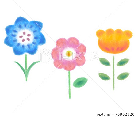 花 かわいい 手描き セット 76962920