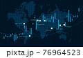 金融商品の取引チャートと世界地図 76964523