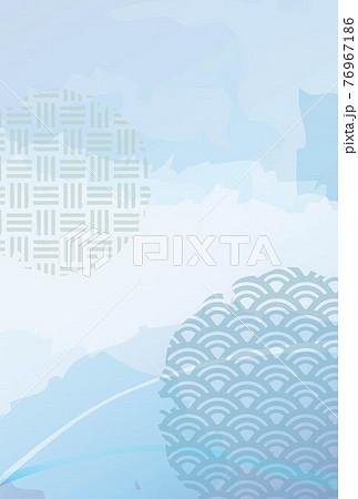 和柄モチーフと水彩風水色背景・ポストカード-縦 76967186
