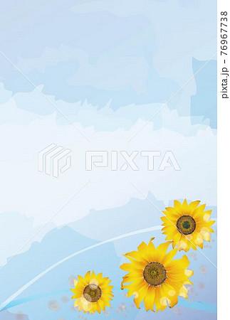 3輪の向日葵のポストカード-縦 76967738