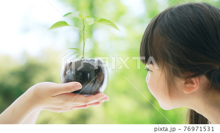 植物を見る女の子 環境イメージ 76971531