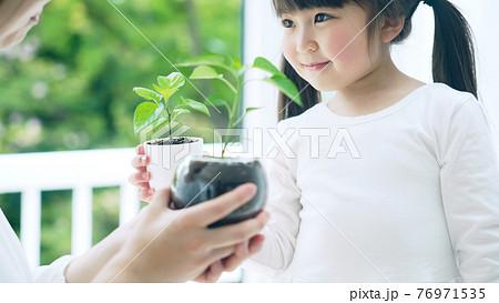 植物を持つ女の子 環境イメージ 76971535