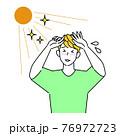 夏の太陽で日焼けして肌がヒリヒリしている男性 暑苦しくて汗をかいている イラスト シンプル ベクター 76972723