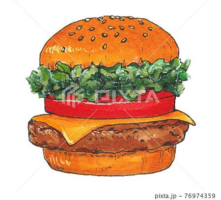 手描き飲食メニュー ハンバーガー 76974359