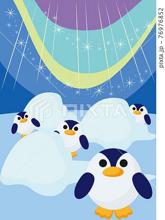 オーロラと丸いペンギンたちのイラスト背景素材 76976852