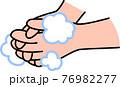 手洗い 泡立てた石鹸で指先を丁寧に洗う コロナウイルス風邪インフルエンザ予防・対策 76982277