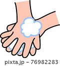 手洗い 泡立てた石鹸で手の甲、指の間を丁寧に洗う コロナウイルス風邪インフルエンザ予防・対策 76982283