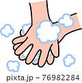 手洗い 泡立てた石鹸で手の甲、指の間を丁寧に洗う コロナウイルス風邪インフルエンザ予防・対策 76982284