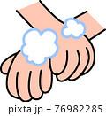 手洗い 泡立てた石鹸で手首を丁寧に洗う コロナウイルス風邪インフルエンザ予防・対策 76982285