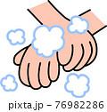 手洗い 泡立てた石鹸で手首を丁寧に洗う コロナウイルス風邪インフルエンザ予防・対策 76982286