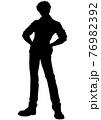 アニメ風の男の子のシルエットイラスト 76982392