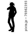アニメ風の男の子のシルエット 76982393