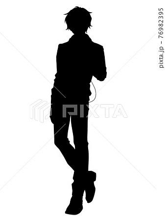 アニメ風の男の子のシルエットイラスト 76982395