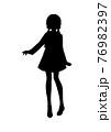 アニメ風の女の子のシルエットイラスト 76982397