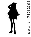 アニメ風の女の子のシルエットイラスト 76982398