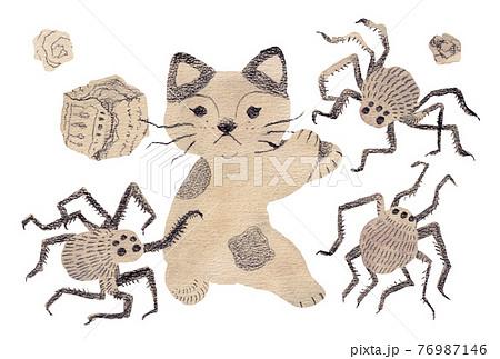 汚れた部屋と巨大蜘蛛の群れ 76987146