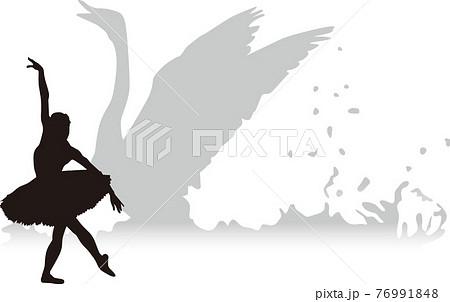 バレエ 白鳥の湖 シルエットイラスト 76991848