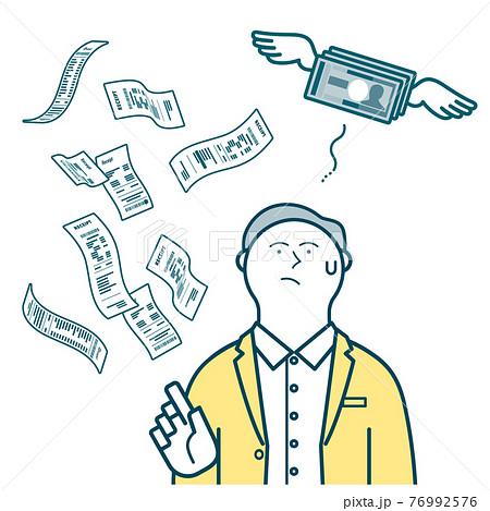 出費が嵩んで浮かぬ表情の男性_レシートと飛んでいくお金 76992576