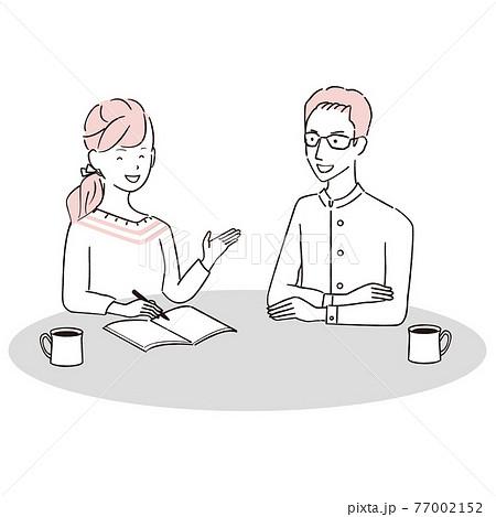 手描き1color  夫婦 笑顔で話し合い 77002152
