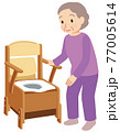 ポータブルトイレを使う高齢者 介護 77005614
