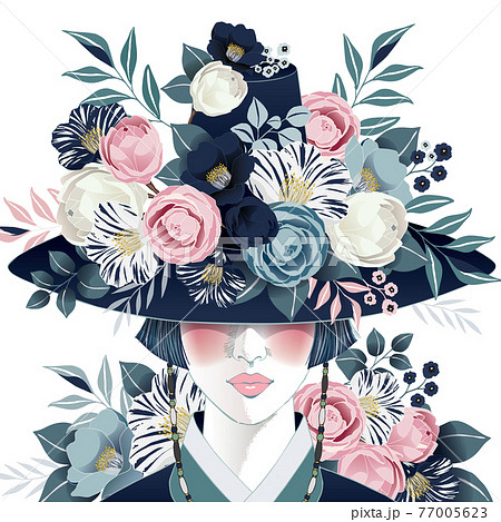 """Vector illustration of a beautiful girl wearing a """"Gat"""", Korean traditional hat decorating with flowers. Design for banner, poster, card, invitation and scrapbook 77005623"""