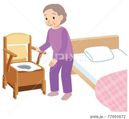 ポータブルトイレを使う高齢者 介護 77005672