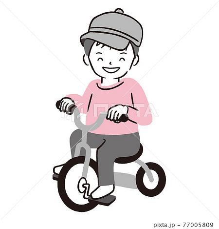 手描き1color 三輪車に乗る帽子を被った男の子 77005809