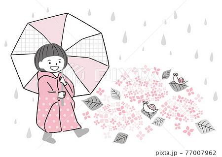 手描き1color 梅雨 レインコートと傘の女の子 77007962