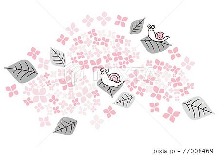 手描き1color 梅雨 6月 紫陽花と蝸牛 77008469