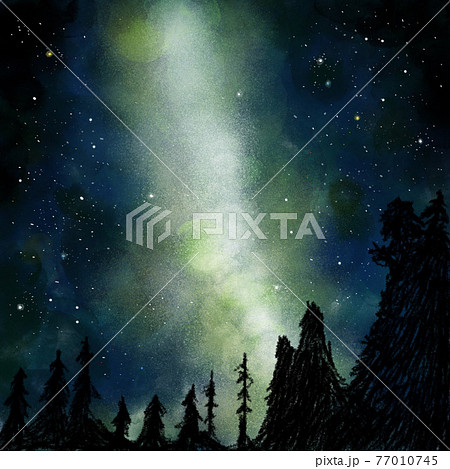 夜空に浮かぶ星の群れ 77010745
