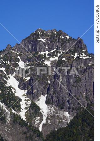 春の奥飛騨温泉郷の北アルプス大橋から見た錫杖岳 77010966
