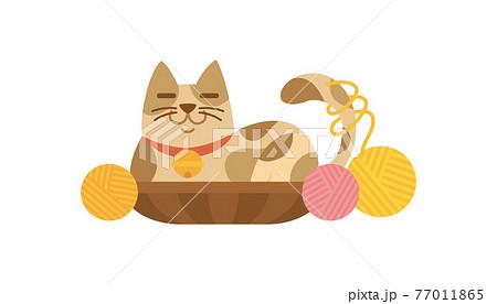 猫のイラスト ねこ ネコ cat 動物 三毛猫 ミケネコ 77011865