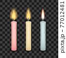 Set of three burning tall candles 77012481