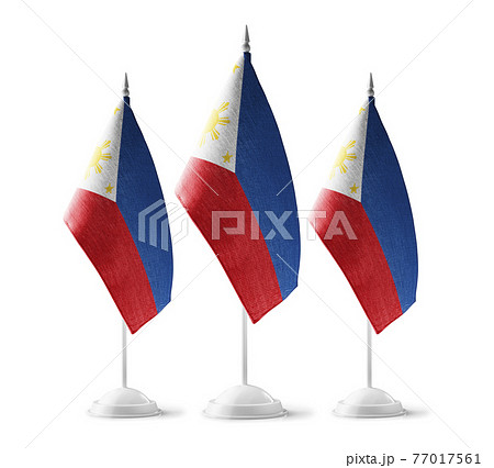 Small national flags of the Philippines on a white background 77017561