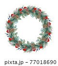 Festive winter wreath. Round pine tree seasonal decoration with red ribbon, cones. Watercolor illustration. Christmas evergreen holiday wreath. Winter green natural decor element. White background 77018690