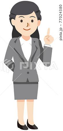 微笑みながら指を差すビジネスウーマン 77024380