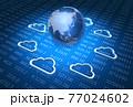 クラウドコンピューティングイメージ(地球、クラウドアイコン、デジタル背景) 77024602