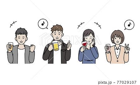 飲み会をする若い男女 打ち上げ オフ会 忘年会 上半身 イラスト素材 77029107