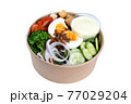 Mixed salad in kraft paper bowl, take away meal, take home menu on isolated white background 77029204