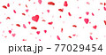 Heart confetti on long banner. Saint Valentine day background. International women celebration party. Birthday, wedding design elements. Romantic card. Honeymoon congratulation. Vector illustration 77029454